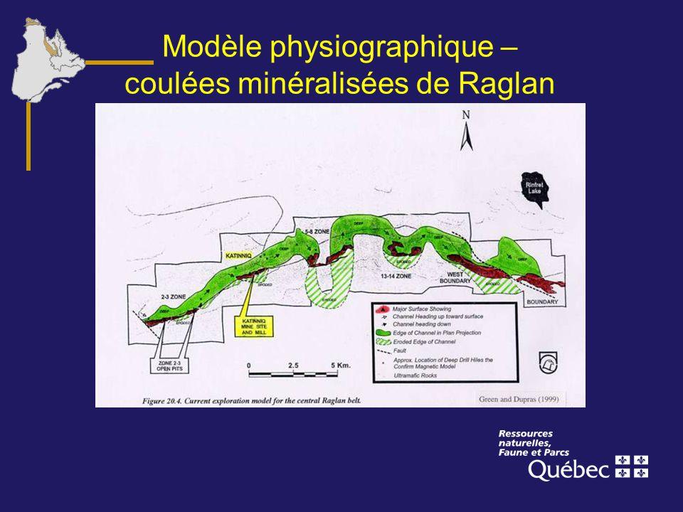Modèle physiographique – coulées minéralisées de Raglan