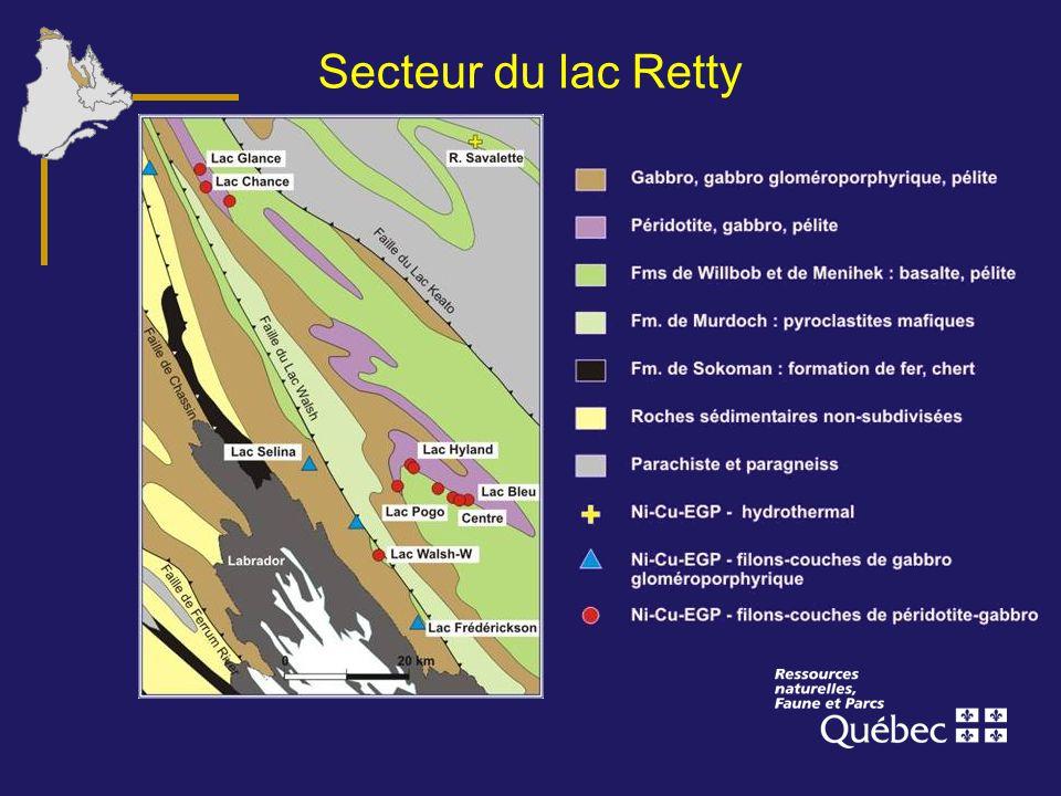 Secteur du lac Retty La région du lac Retty contient plusieurs gîtes importants de Ni-Cu-EGP, comme Lac Bleu, Centre et Lac Pogo.