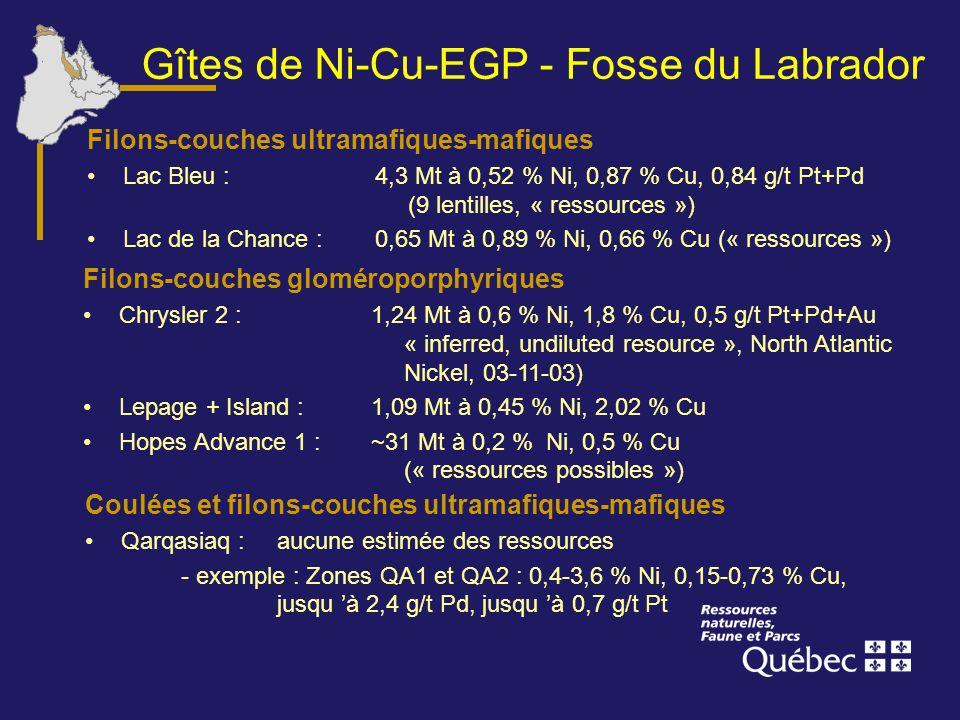 Gîtes de Ni-Cu-EGP - Fosse du Labrador