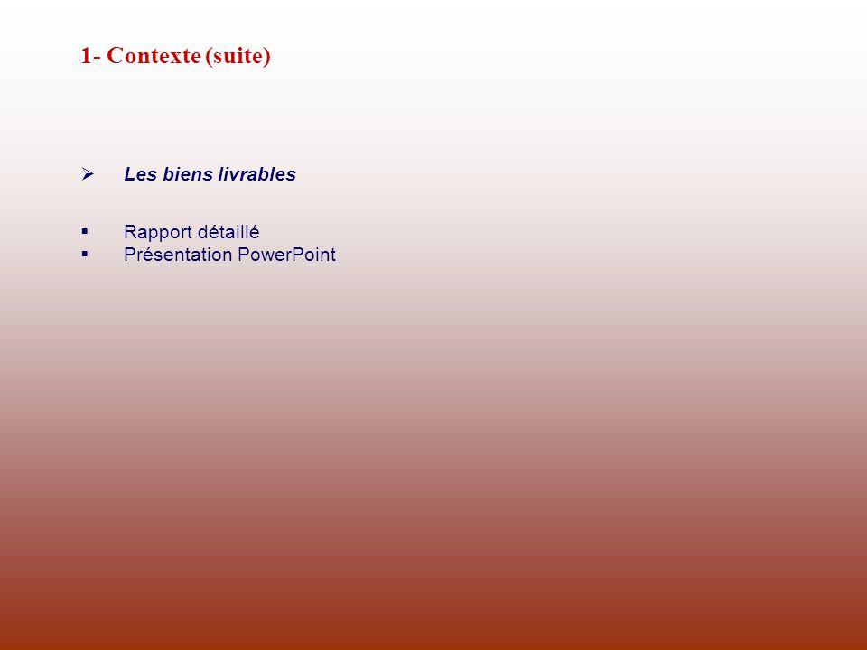 1- Contexte (suite) Les biens livrables Rapport détaillé