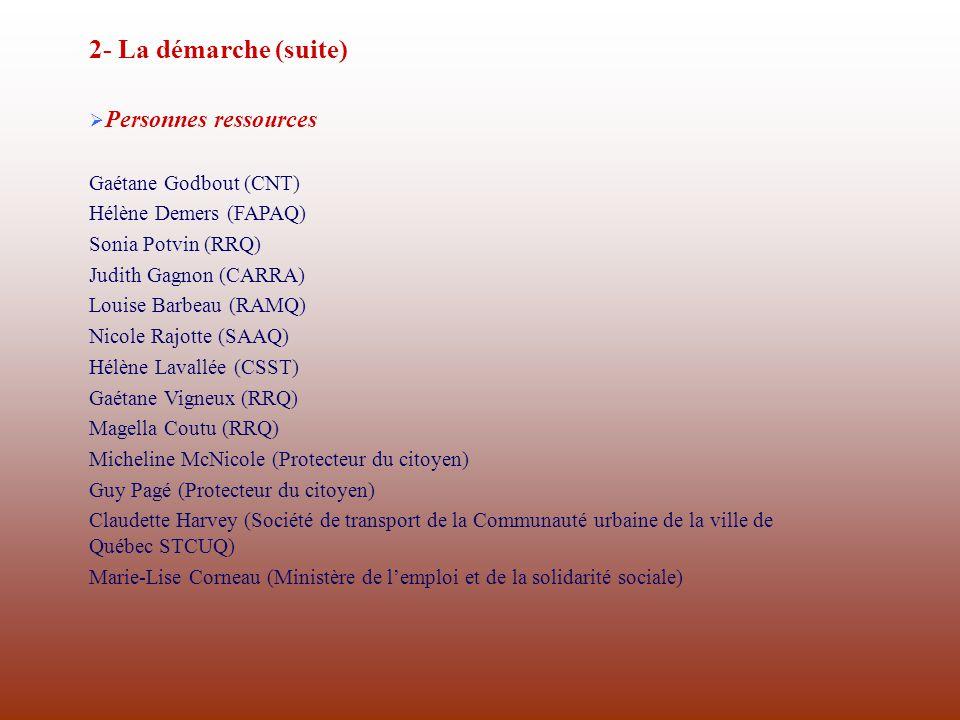 2- La démarche (suite) Personnes ressources Gaétane Godbout (CNT)
