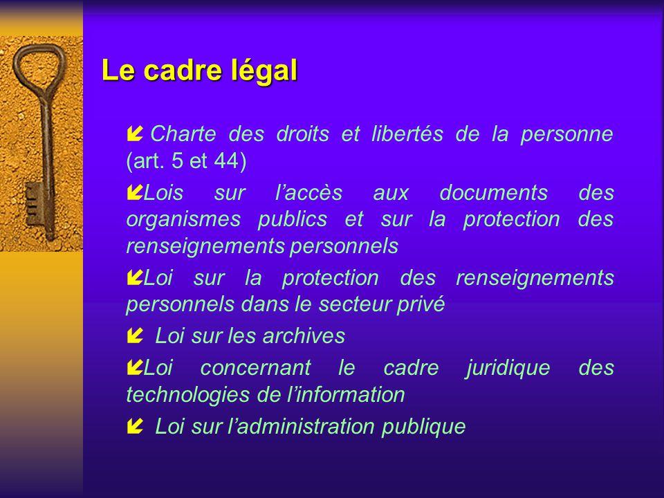 Le cadre légal Charte des droits et libertés de la personne (art. 5 et 44)