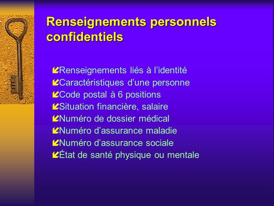 Renseignements personnels confidentiels