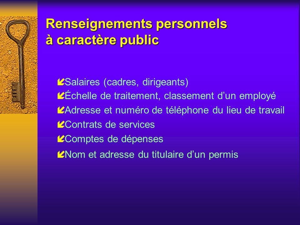 Renseignements personnels à caractère public
