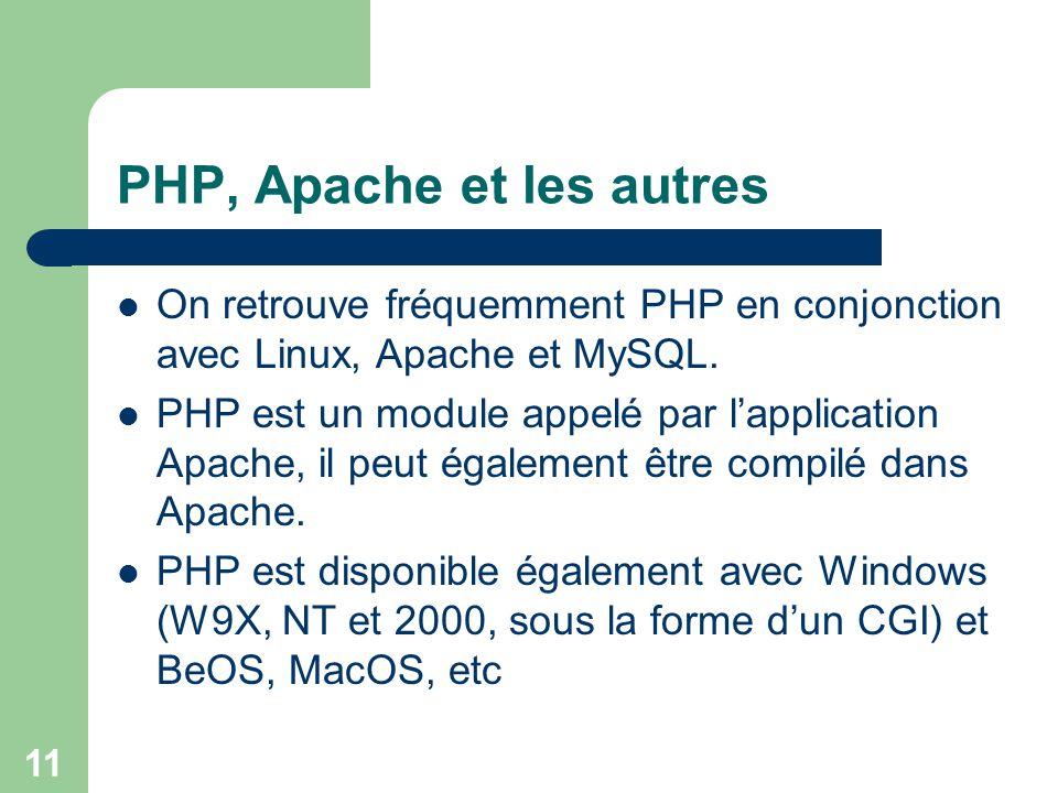 PHP, Apache et les autres