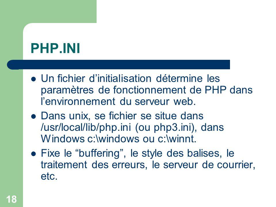PHP.INI Un fichier d'initialisation détermine les paramètres de fonctionnement de PHP dans l'environnement du serveur web.