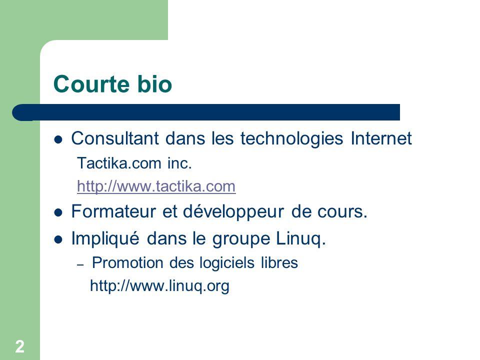 Courte bio Consultant dans les technologies Internet