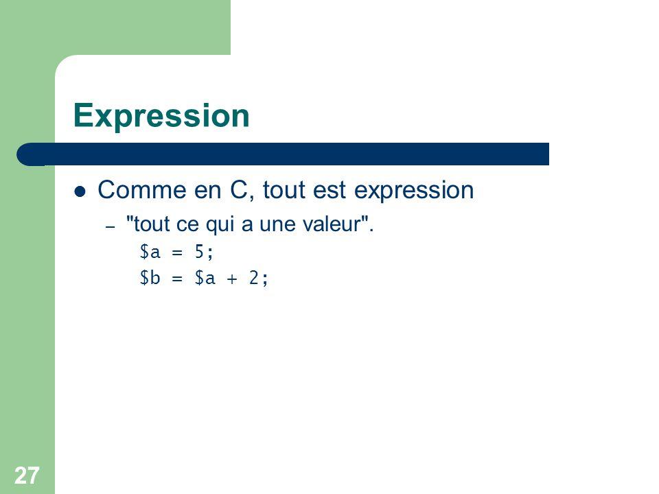 Expression Comme en C, tout est expression tout ce qui a une valeur .