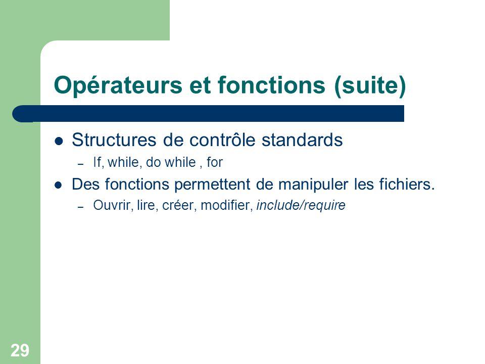 Opérateurs et fonctions (suite)