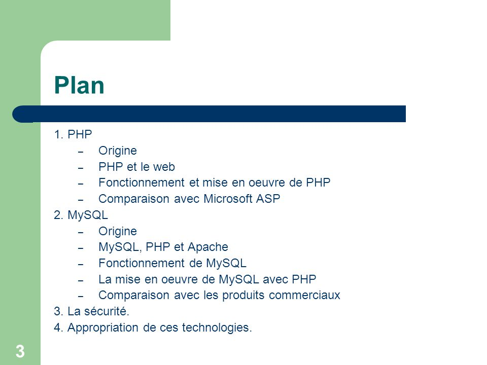 Plan 1. PHP Origine PHP et le web