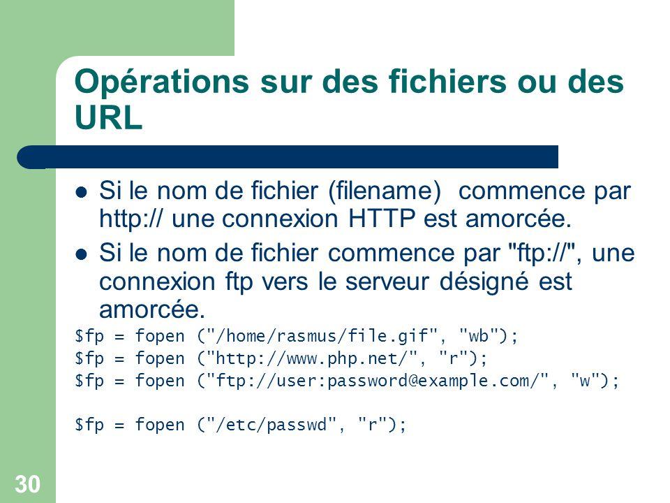 Opérations sur des fichiers ou des URL