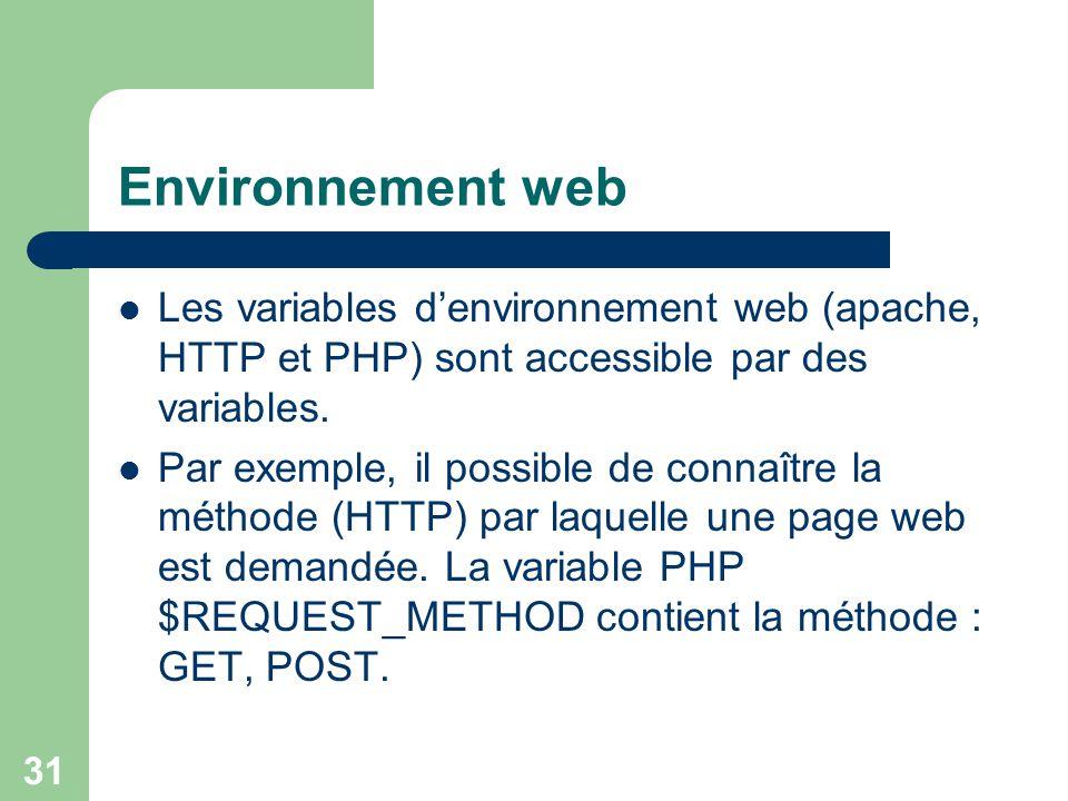 Environnement web Les variables d'environnement web (apache, HTTP et PHP) sont accessible par des variables.