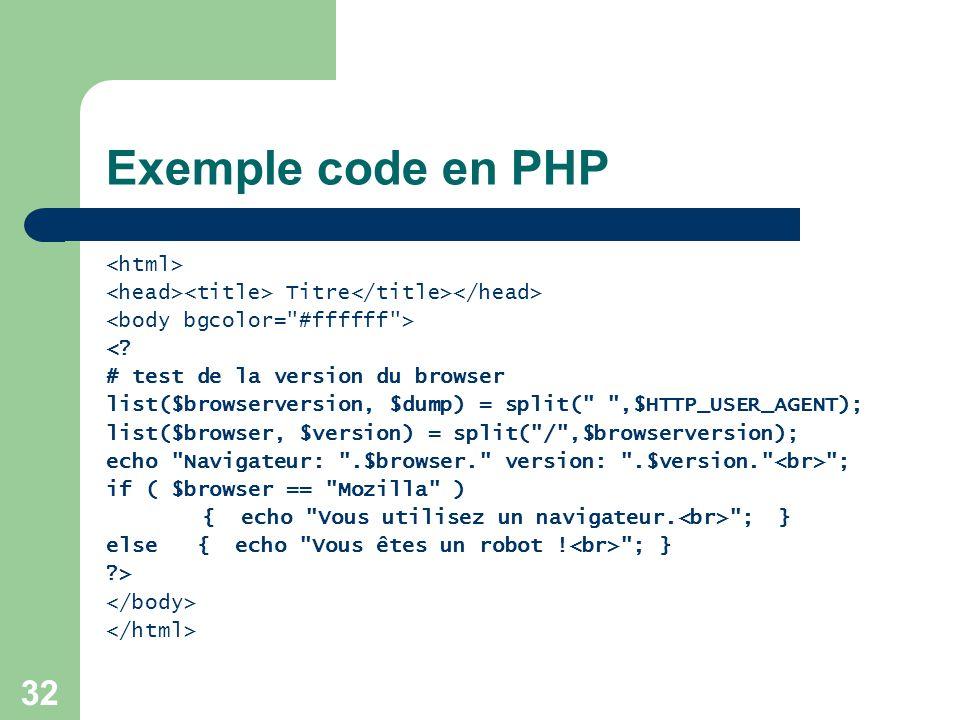Exemple code en PHP <html>