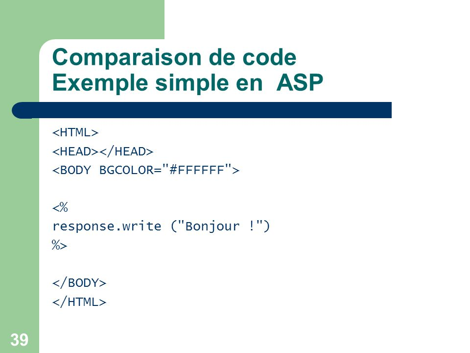 Comparaison de code Exemple simple en ASP