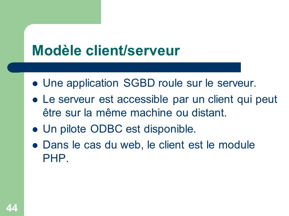Modèle client/serveur
