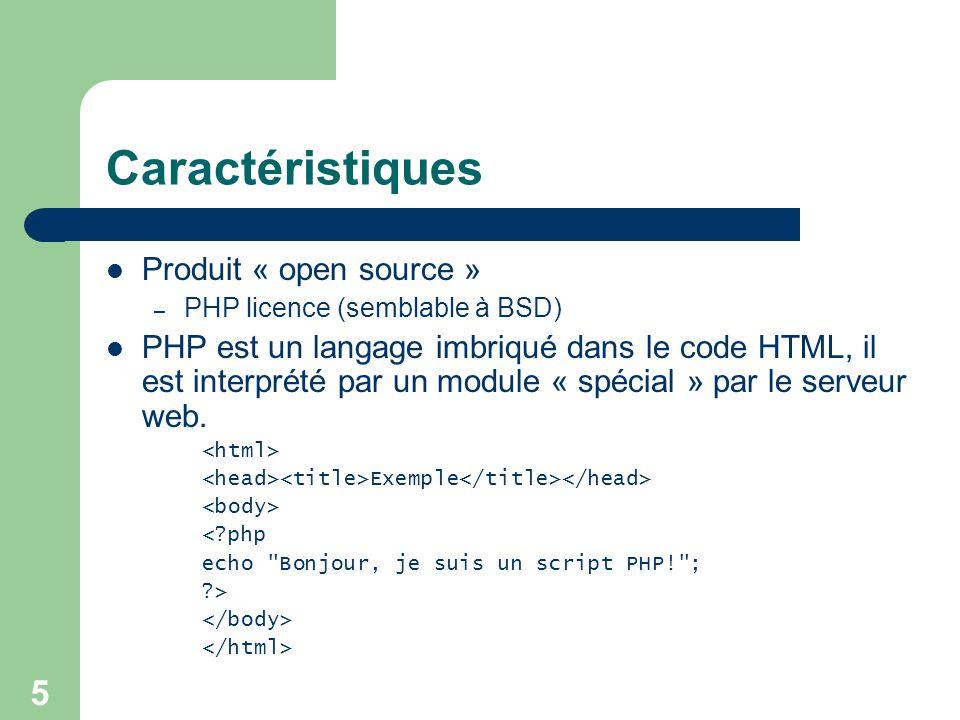 Caractéristiques Produit « open source »