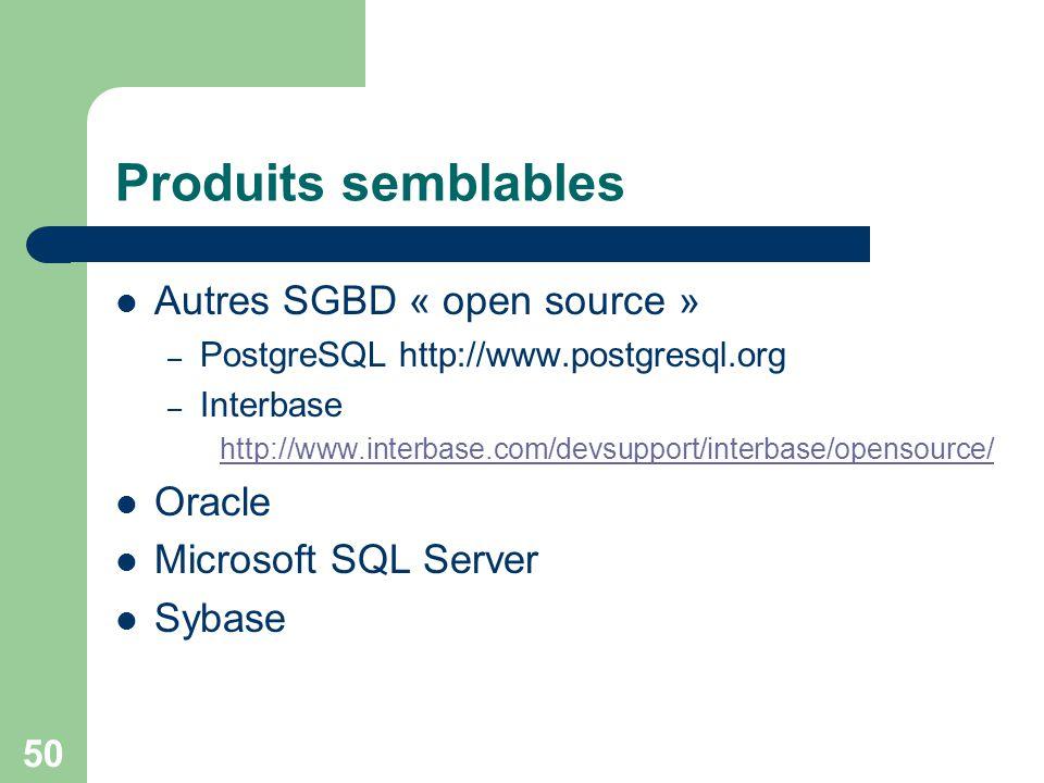 Produits semblables Autres SGBD « open source » Oracle
