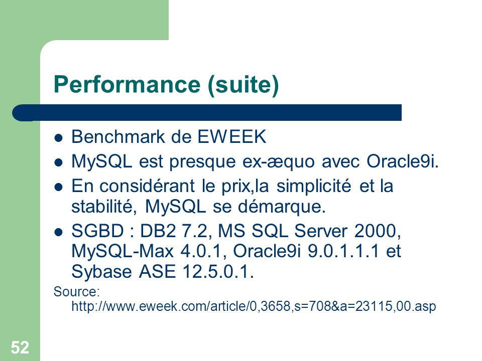 Performance (suite) Benchmark de EWEEK