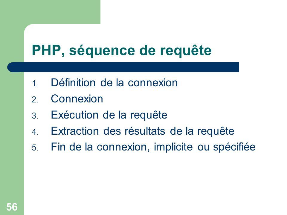 PHP, séquence de requête