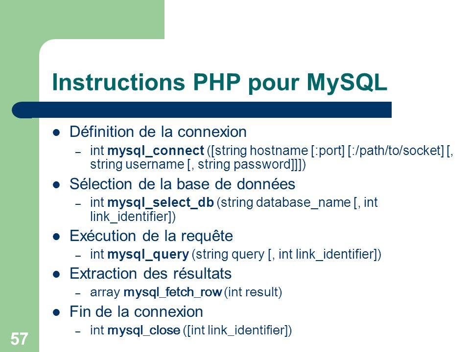 Instructions PHP pour MySQL