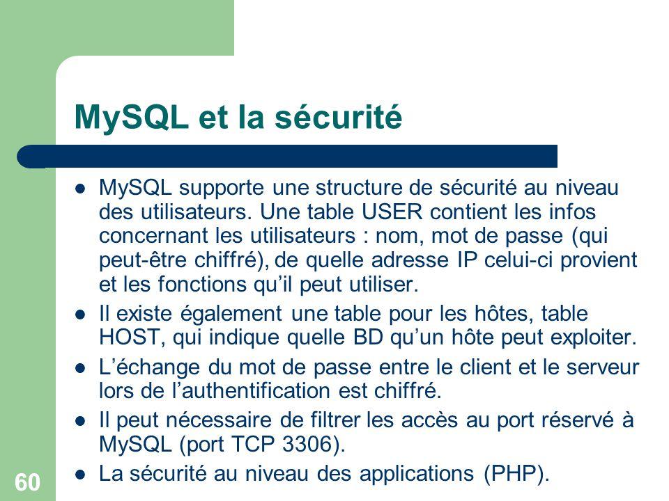 MySQL et la sécurité