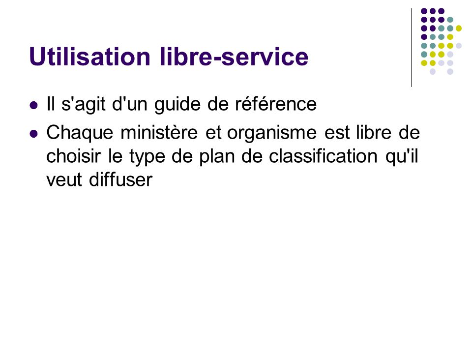 Utilisation libre-service
