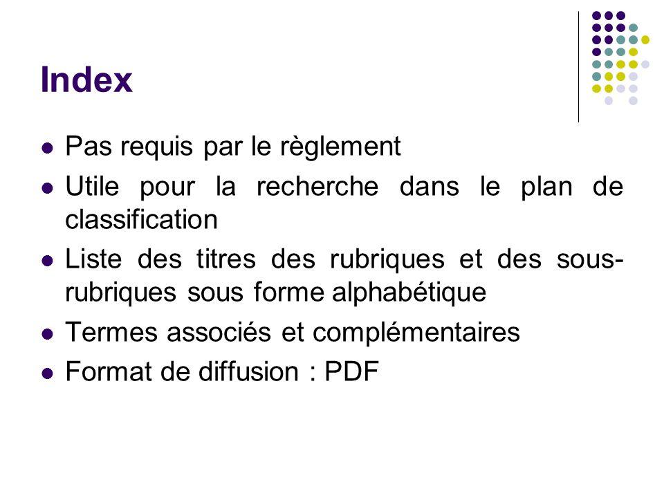 Index Pas requis par le règlement