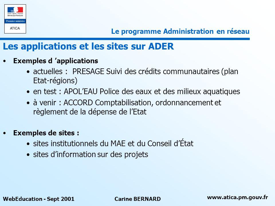 Les applications et les sites sur ADER