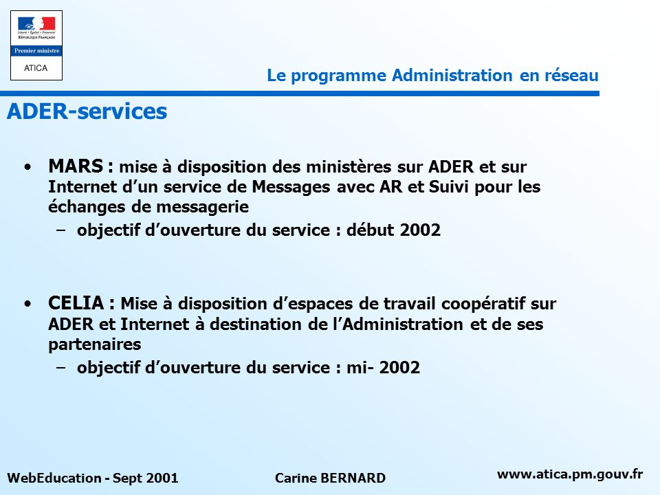 Le programme Administration en réseau