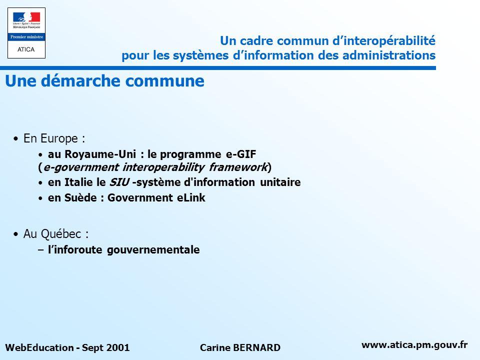 Un cadre commun d'interopérabilité pour les systèmes d'information des administrations