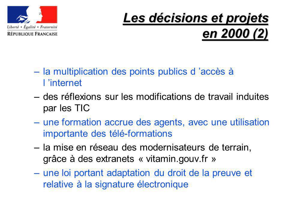 Les décisions et projets en 2000 (2)