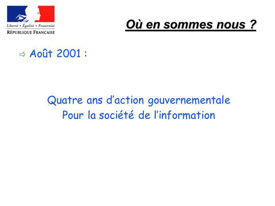 Où en sommes nous Août 2001 : Quatre ans d'action gouvernementale