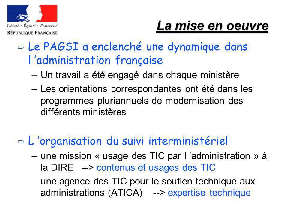 La mise en oeuvre Le PAGSI a enclenché une dynamique dans l 'administration française. Un travail a été engagé dans chaque ministère.