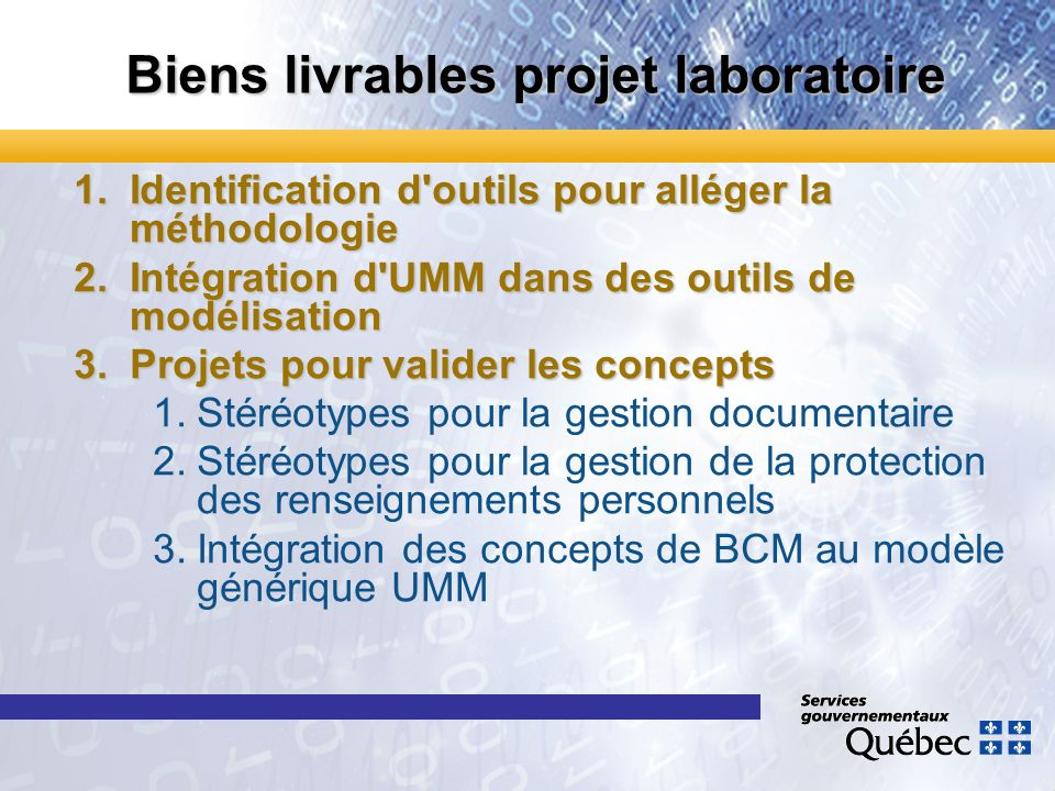 Biens livrables projet laboratoire