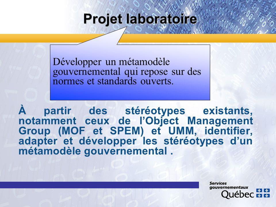 Projet laboratoire Développer un métamodèle gouvernemental qui repose sur des normes et standards ouverts.