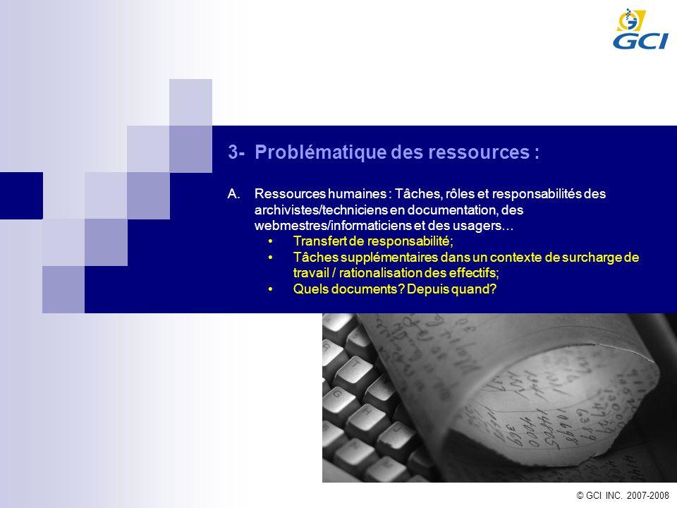 3- Problématique des ressources :