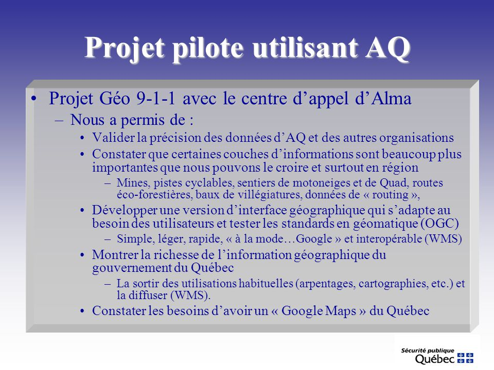 Projet pilote utilisant AQ