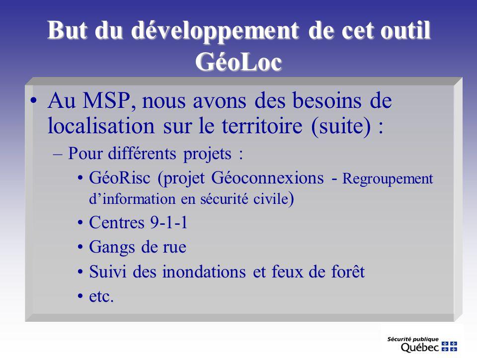But du développement de cet outil GéoLoc