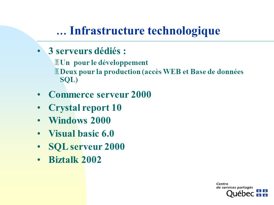 … Infrastructure technologique