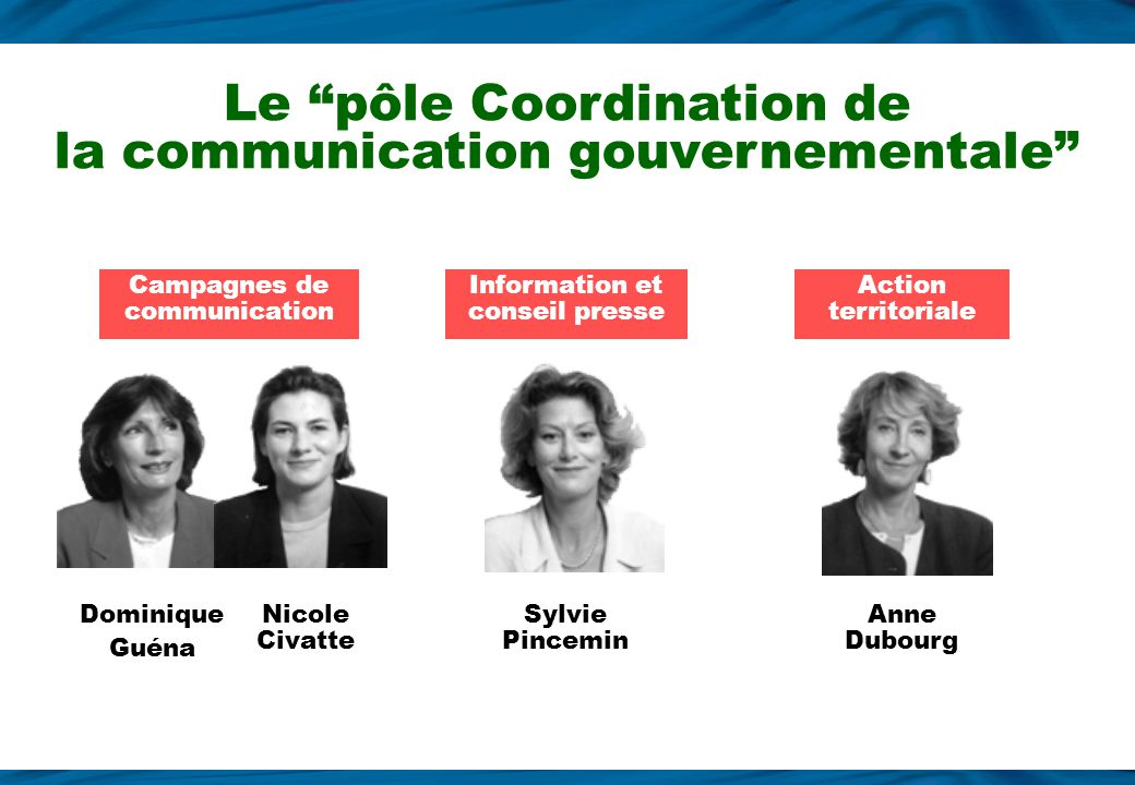 Le pôle Coordination de la communication gouvernementale