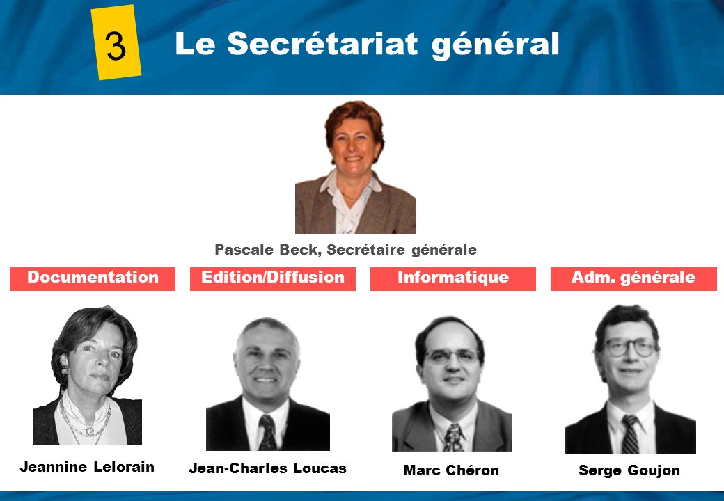 3 Le Secrétariat général Documentation Edition/Diffusion Informatique