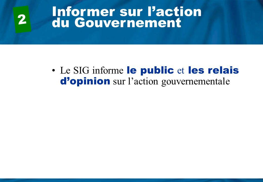 Informer sur l'action du Gouvernement