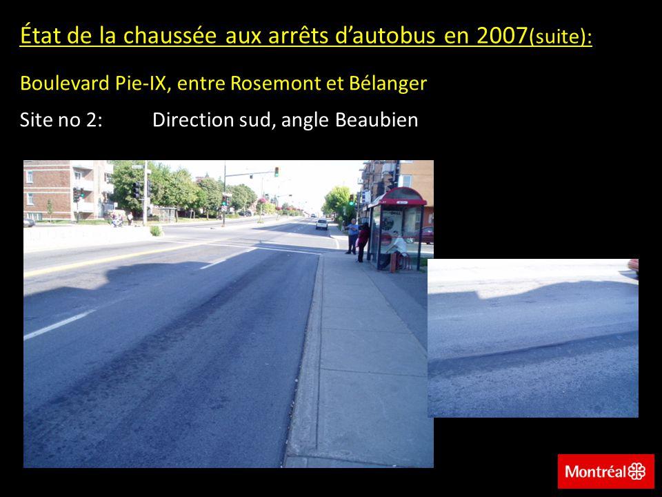 État de la chaussée aux arrêts d'autobus en 2007(suite):