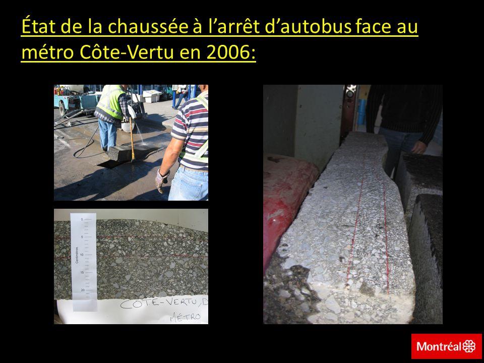 État de la chaussée à l'arrêt d'autobus face au métro Côte-Vertu en 2006: