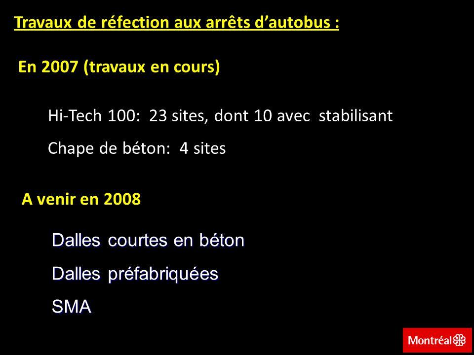 Travaux de réfection aux arrêts d'autobus : En 2007 (travaux en cours)
