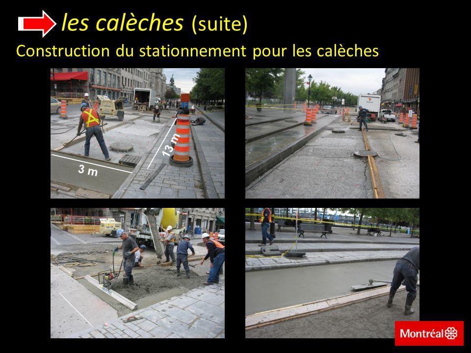 les calèches (suite) Construction du stationnement pour les calèches