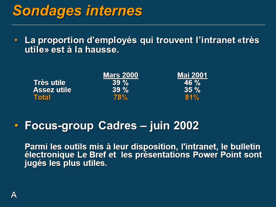 Sondages internes Focus-group Cadres – juin 2002