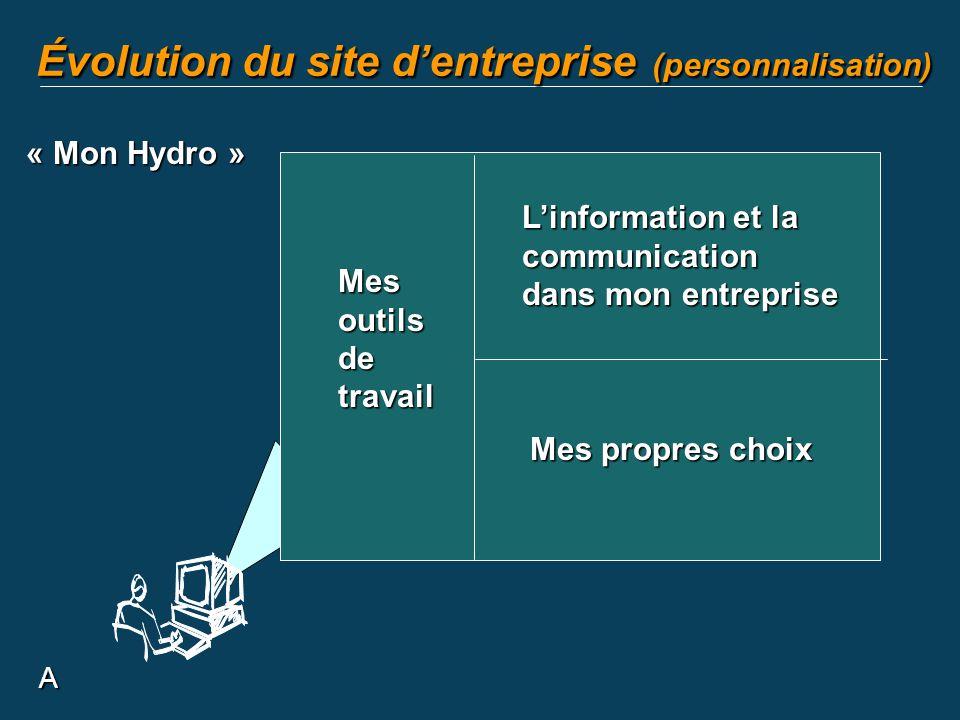 Évolution du site d'entreprise (personnalisation)