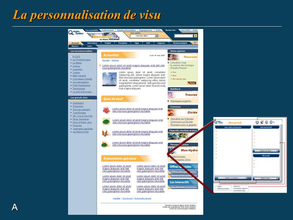 La personnalisation de visu