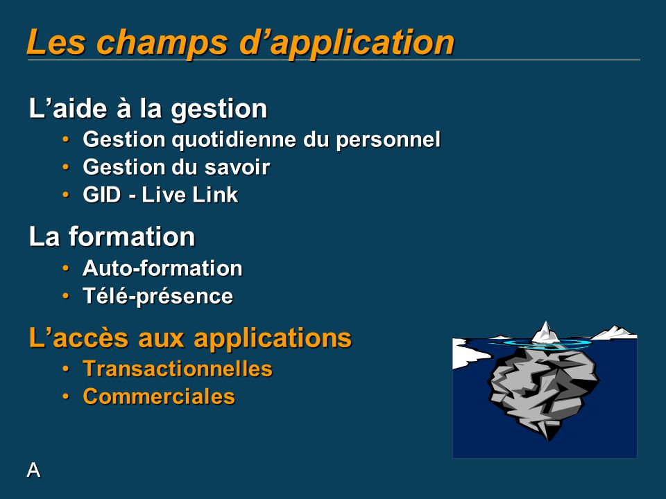 Les champs d'application